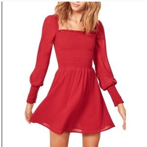 Red Kelli Smocked Dress by Reformation 🥀
